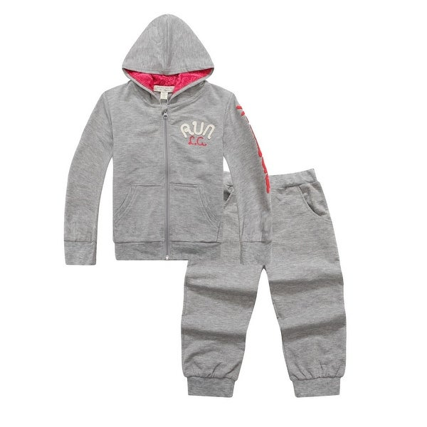 "Richie House Baby Boys Grey ""RUN"" Zippered Hoodie Sweats Pant Set 6-12M"