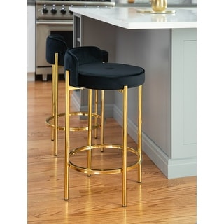 Link to Silver Orchid Flohr Counter Stool in Velvet & Gold Metal - Set of 2 Similar Items in Dining Room & Bar Furniture