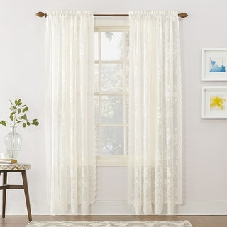 Link to No. 918 Alison Floral Lace Sheer Rod Pocket Curtain Panel Similar Items in Window Treatments
