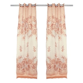 Hotel Flower Pattern Hole Hanging Background Decorative Window Curtain