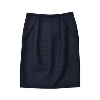 Stella McCartney Black Navy Checkered Wool Blend Folded Skirt