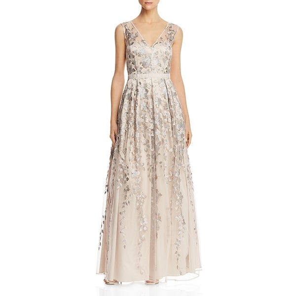 Eliza J Womens Formal Dress V-Neck Sequined - Taupe. Opens flyout.
