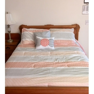 Intelligent Design Lou Coral Printed Reversible 5-piece Comforter Set