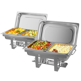 2 Packs Full Size Chafing Dish 9 Quart Stainless Steel Rectangular Chafer Buffet