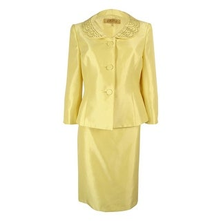 Kasper Women's Bead-Trim Skirt Suit (Lemon Ice, 8)