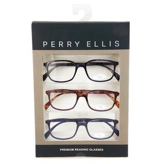 Perry Ellis Mens 3 Multi Pack Metal Reading Glasses +2.0 Blk/Dem/Blu PEBX30, Includes Perry Ellis Pouch - Black