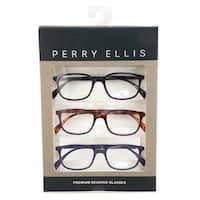 Perry Ellis Mens 3 Multi Pack Metal Reading Glasses +2.5 Blk/Dem/Blu PEBX30, Includes Perry Ellis Pouch - Black