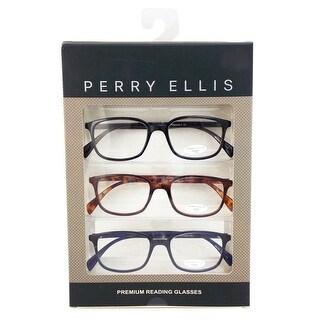 Perry Ellis Mens 3 Multi Pack Metal Reading Glasses +2.5 Blk/Dem/Blu PEBX30, Includes Perry Ellis Pouch - Black