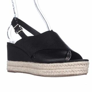 Via Spiga Triana Espadrille Slingback Wedge Sandals, Black Leather
