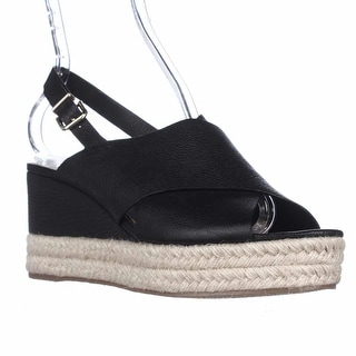 Via Spiga Triana Espadrille Slingback Wedge Sandals - Black Leather