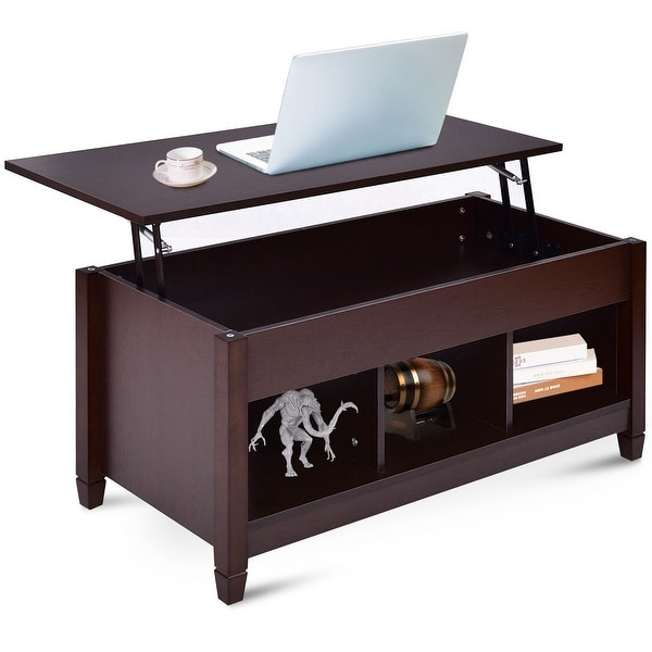 Costway Lift Top Coffee Table W Hidden Compartment And Storage Shelves Modern Furniture As