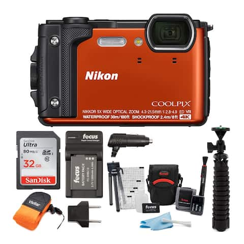 Nikon Coolpix W300 Digital Camera (Orange) with 32GB Card Bundle