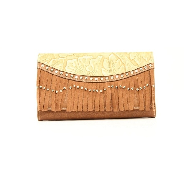 Blazin Roxx Western Wallet Womens Clutch Fringe Brown - 7 1/2 x 4 1/2