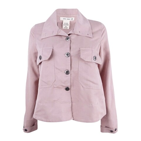 7 Sisters Juniors' Cropped Military Jacket - dusty blush