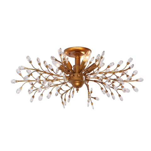 Vintage Bucolic Style Hand-carved Leaves And Branches Modern Crystal Chandelier