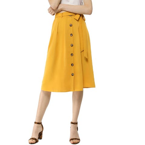 Women's Button Front Casual High Waist Belted Midi Flare Skirt