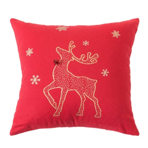 "Reindeer Cotton 16"" Square Christmas Throw Pillow"