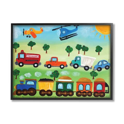 Stupell Industries Planes, Trains, and Automobiles Wall Art