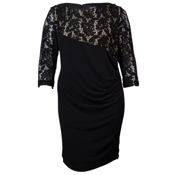 Tahari Womens Faux Wrap Sequin Lace Overlay Jersey Dress