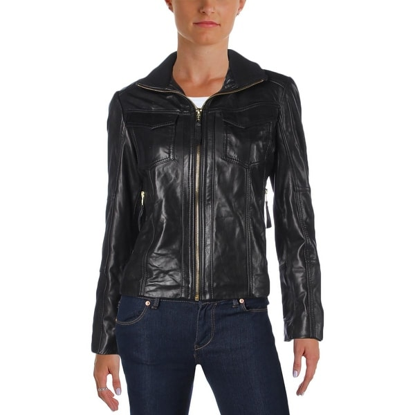 d49a50dd588d Shop MICHAEL Michael Kors Womens Petites Motorcycle Jacket Leather Pockets  - Free Shipping Today - Overstock - 19271534
