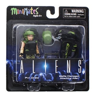Aliens Minimates Series 1 2-Pack: Pvt. Drake & Battle Damaged Attacking Alien - multi
