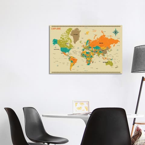 iCanvas 'New World Map' by Jazzberry Blue Canvas Print