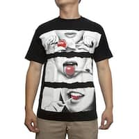 Mens Sexy Lollipop Black Short-Sleeve T-Shirt
