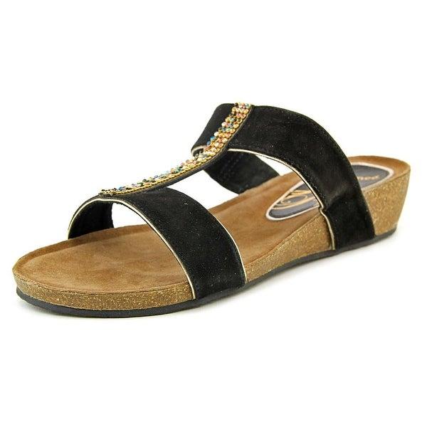 J. Renee Kella Women W Open Toe Suede Black Slides Sandal