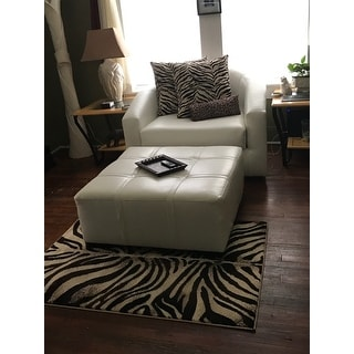 """Home Dynamix Tribeca Collection Contemporary Black-Ivory Area Rug - 3'3"""" x 4'7"""""""