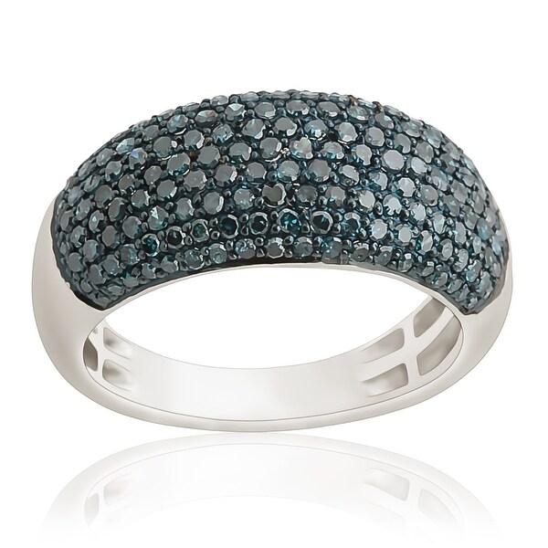 Prism Jewel 1.02 Carat Blue Color Diamond Wedding Band, 3.60mm Wide