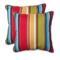 "Set of 2 Westport Garden Awning Stripe Outdoor Square Throw Pillows 18.5"" x 18.5"" - Blue"