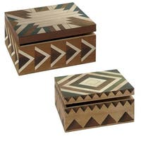 Set of 2 Brown and Green Decorative Watercolor Storage Boxes 11.25