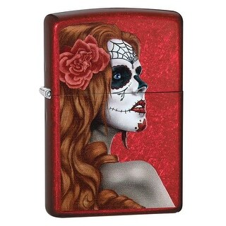 Zippo Day of The Dead Zombie Woman Candy Apple Red Full Size Lighter