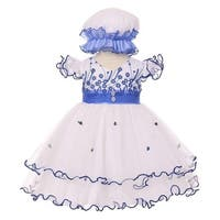 Baby Girls Royal Blue Floral Embroidery Jewel Bonnet Flower Girl Dress 3-24M