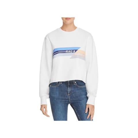 Rag & Bone Womens Sweatshirt, Crew Raw Hem Cropped