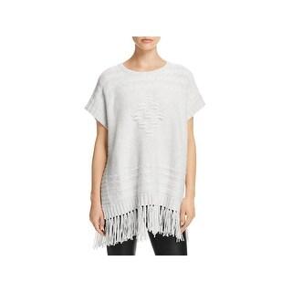 VELVET BY GRAHAM & SPENCER Womens Pullover Sweater Fringe Cap Sleeves