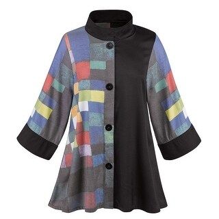 Women's Fashionable Modern Art Swing Jacket - Button Down