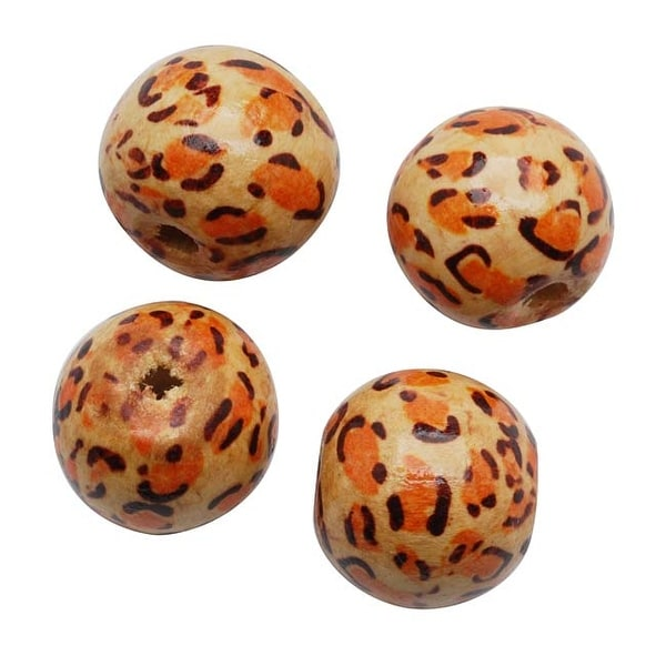 Round Wood Beads Natural Beige With Leopard Print 19.5mm (4)