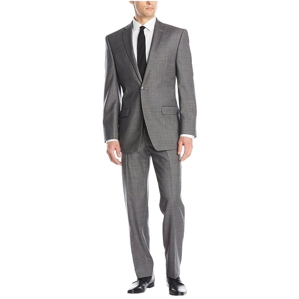 Calvin Klein Slim Fit Grey Wool Suit 42 Regular 42R Flat Front Pants 36W