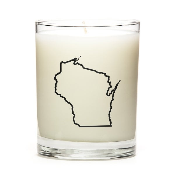 Custom Candles with the Map Outline Wisconsin, Peach Belini