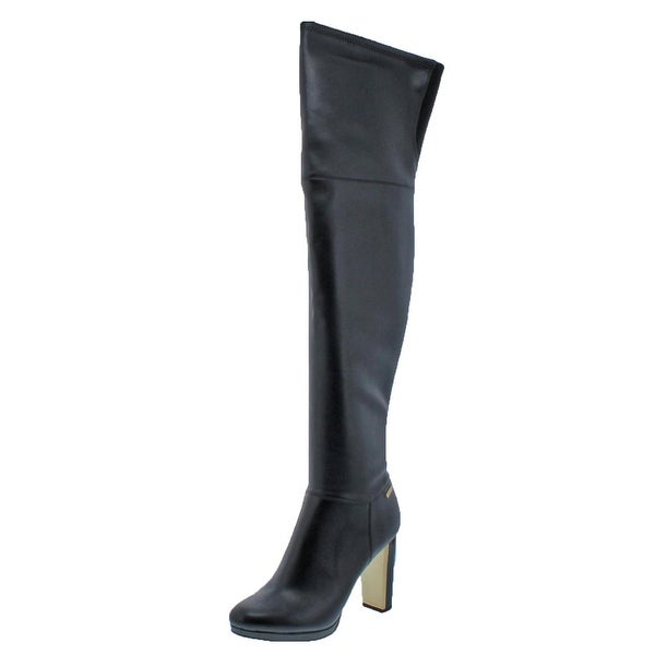 Calvin Klein Womens Polomia Over-The-Knee Boots Faux Leather Block Heel