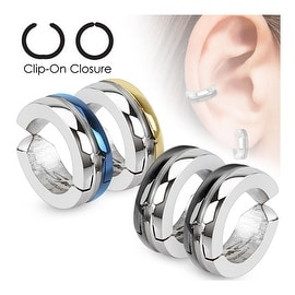 Half Color IP Pair of 316L Surgical Stainless Steel Non-Piercing Clip On Round Dome Earrings