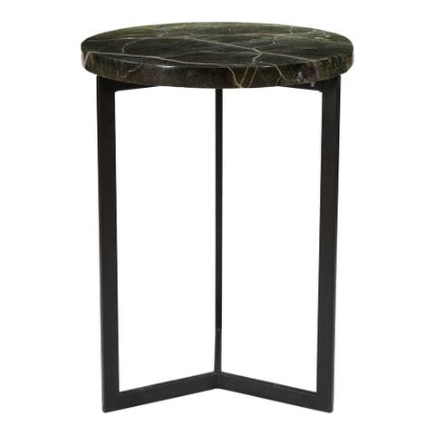 Aurelle Home Modern Iron Base Marble Top Accent Table