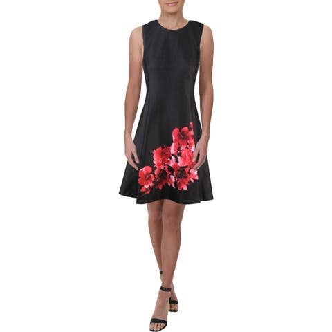 DKNY Womens Scuba Dress Floral Fit & Flare - 6