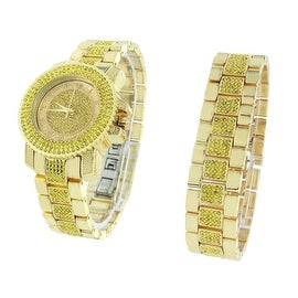 Iced Out Watch & Bracelet Set Yellow Iced Out Lab Diamonds Over Gold Finish Stainless Steel Back