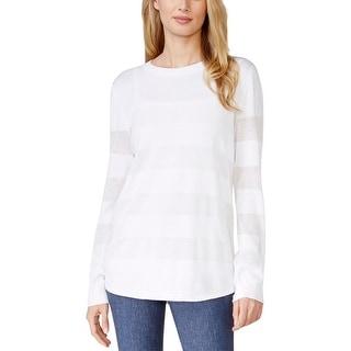 MICHAEL Michael Kors Womens Pullover Sweater Illusion Striped Crew Neck