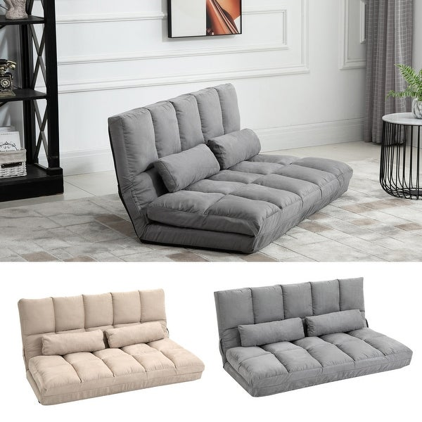 HOMCOM Convertible Floor Sofa Chair/Folding Couch Bed with 7 Position Adjustable Backrest, and 2 Pillows. Opens flyout.
