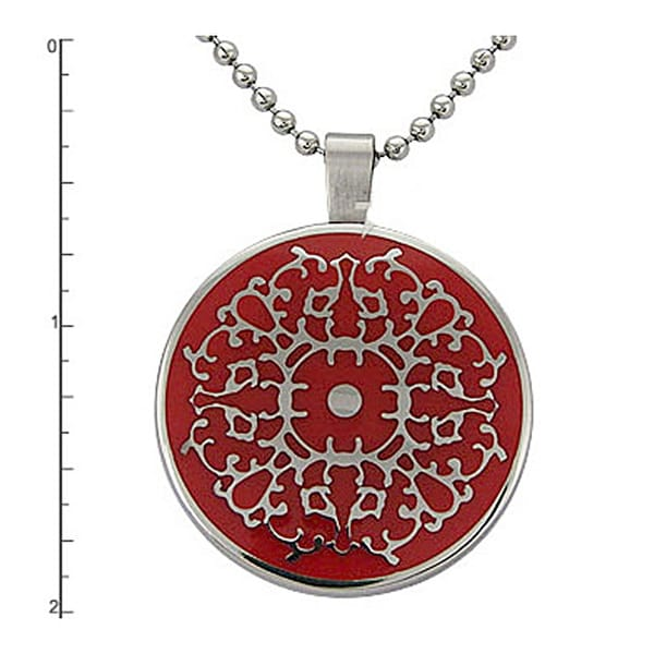 Stainless Steel Circle with Red Resin Inlay Pendant on 22 Inch Bead Chain