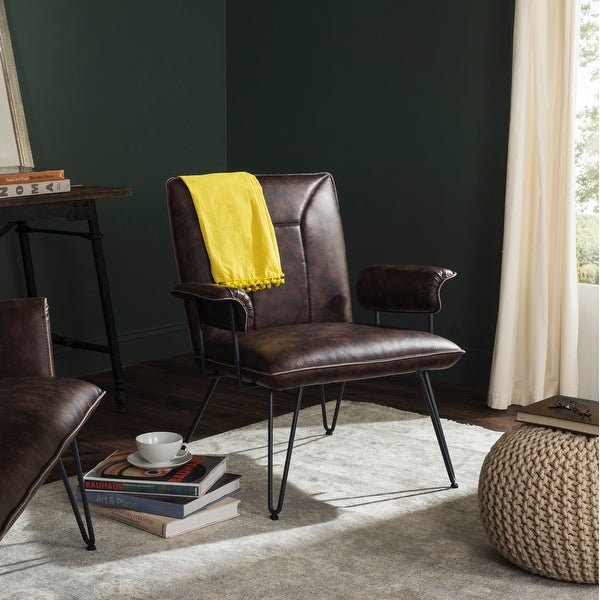 Safavieh Johannes Mid-Century Modern Leather Arm Chair. Opens flyout.