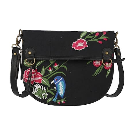 Womens Crossbody Bag Black Floral Embroidered Leather Canvas Purse - 10.5''x0.80''x12.5''